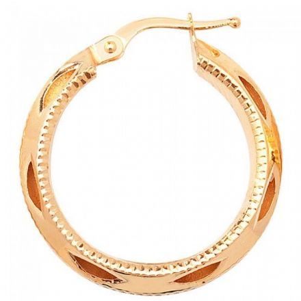 Just Gold Earrings -9Ct Dia Cut Hoop Earrings, ER656